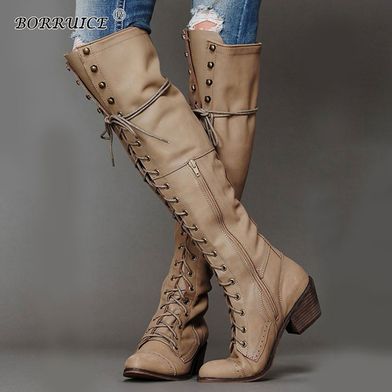 Autumn And Winter New Long Tube Women Boots Keep Warm Thigh High Boots Sewing Thread Rivet High Heel Long Boots Zipper