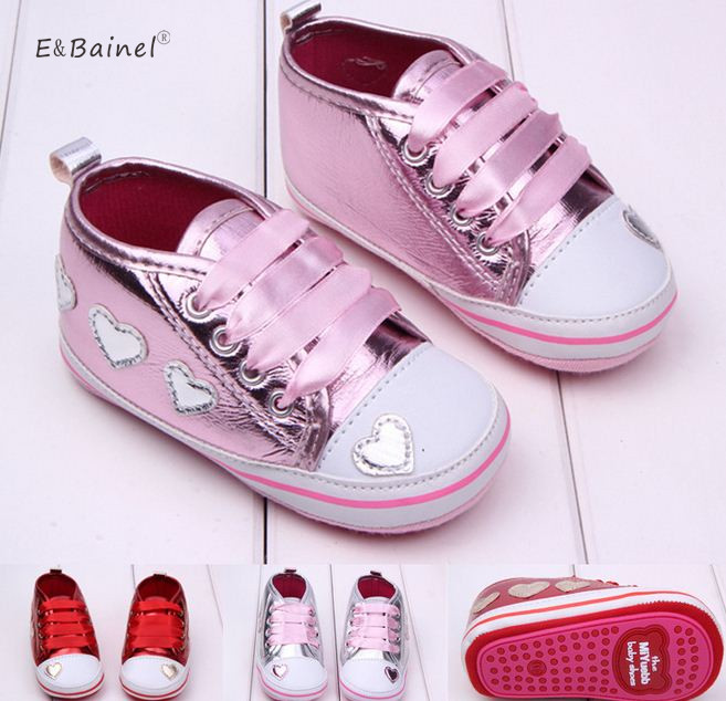 Baby Girls Shoes Sneakers Newborn Girls Heart Pattern First Walkers Kids Toddlers Lace Up PU Leather Sport Sneakers 0-18 Months