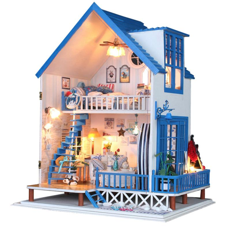 Birthday gift ! Diy dollhouse - Aegean Sea hand assembled toy model large villa электрическое одеяло aegean islands 150x120 801128