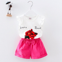 Children 2PCs Baby girls embroidery ROSE vest Top with Bowknot shorts outfits set for Toddler  girls kids Clothing 2019 summer