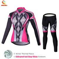 2017 Black Pink Winter Fleece Cycling Jersey Women S Long Sleeve Bicycle Cycling Clothing Bike Wear