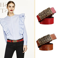 High Quality Women Belt Flower PU Leather Girl Ady Belts Vintage Pu Leather Strap Automatic Buckle