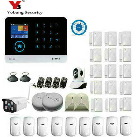 YobangSecurity Wifi Wireless GSM Home Security Alarm System RFID Keyfobs Outdoor IP Camera Wireless Strobe Siren iOS Android APP yobang security gsm wifi auto dial home alarm system rfid tags intelligent alarma kits glass break sensor strobe siren sensor