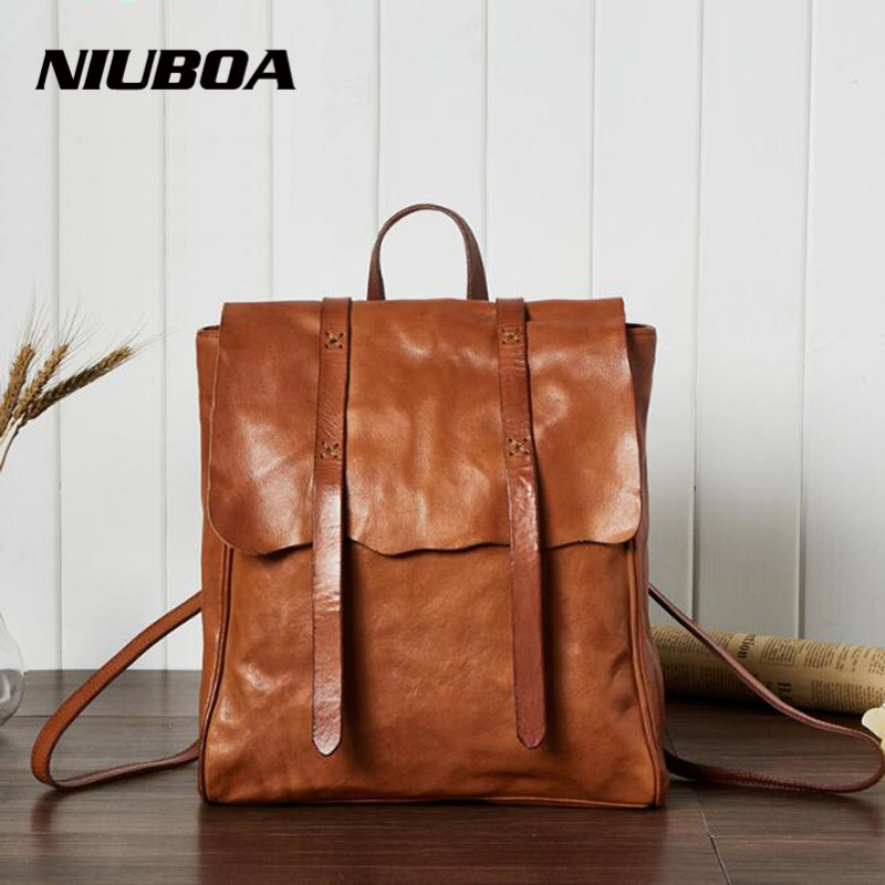 NIUBOA Woman Backpack Genuine Leather Backpack Vintage Casual Natural Leather Laptop Shoulder Bag Euro Style Travel School Bags male bag vintage cow leather school bags for teenagers travel laptop bag casual shoulder bags men backpacksreal leather backpack