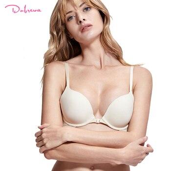 DOBREVA для женщин спереди синтетическое закрытие волос хлопковый бюстгальтер сексуальное бесшовное белье пуш ап бюстгаль