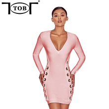 TOB 2017 Hollow Out Deep V-neck Knee Length Mini Dress Slim Bandage Early Autumn Women Dresses Bandage Vestidos XD924(China)