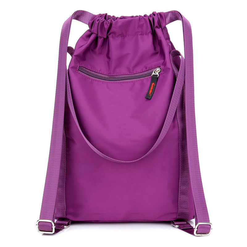 Image 4 - Women Nylon Backpacks Fashion Ladies Casual Drawstring Rucksack Multifunction Shoulder Bag Teenager Girls Travel SchoolbagBackpacks   -