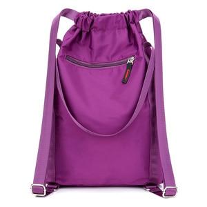 Image 4 - Women Nylon Backpacks Fashion Ladies Casual Drawstring Rucksack Multifunction Shoulder Bag Teenager Girls Travel Schoolbag