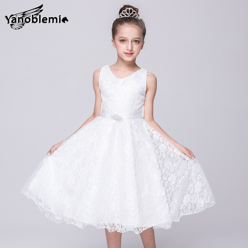 New Big Girls Brand Wedding Dress Children Cute Lace Print Sequin Belt Dresses Kids Princess Costumes Party Bridesmaid Clothes new girls dress brand summer clothes ice cream print costumes sleeveless kids clothing cute children vest dress princess dress