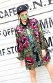 Мелинда Стиль 2017 новые моды для женщин, траншеи блестками губы шаблон армейские куртки и пиджаки бесплатная доставка