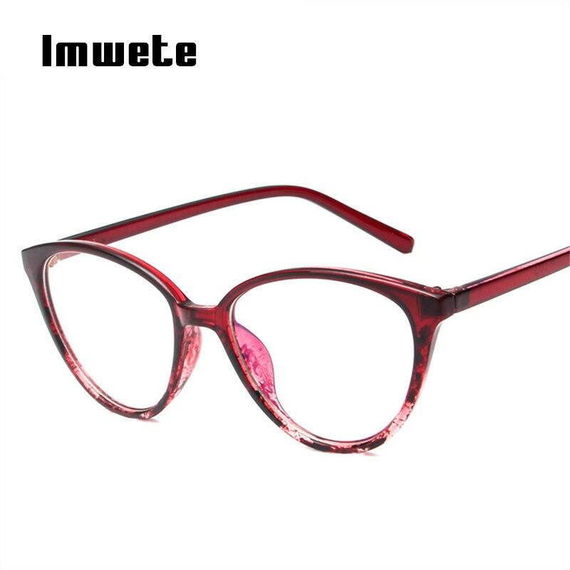 Imwete Classic Cat Eye Optical Glasses Frames Women Transparent Glasses Unisex Frame Ultra Light Frame Clear Lens Eyeglasses