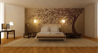 Classic style Hand painted silver/gold foil wallpaper painting Cherry trees wallcovering many patterns and background optional