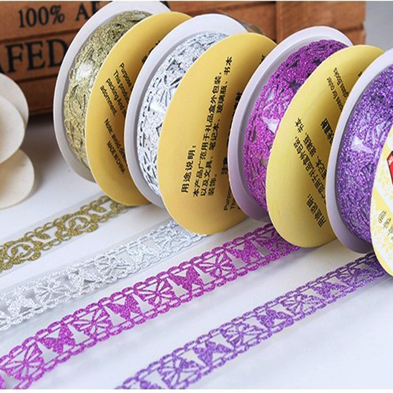 Top Selling Glitter Matte Lace Sticker Tape DIY Self Adhesive Paper Washi Tape Scrapbooking Decor For Diary Album Free Shipping