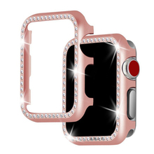 Diamond case For Apple watch band 42mm/38mm series 4/3/2/1 Aluminum alloy Frame strap bumper For iwatch cover shell 40mm 44mm pc cover case for apple watch 3 2 1 42mm 38mm iwatch series watch case colorful plating full frame protective case armor shell