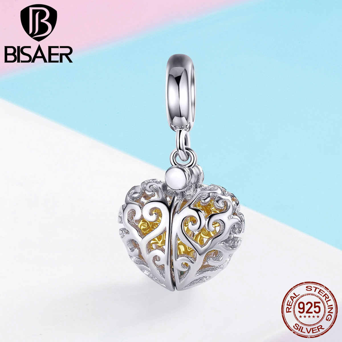 BISAER Trendy 925 Sterling Silver Gold Color Life Tree Pendant Charms For Women DIY Accessories Making Blessed Charms GXC1161