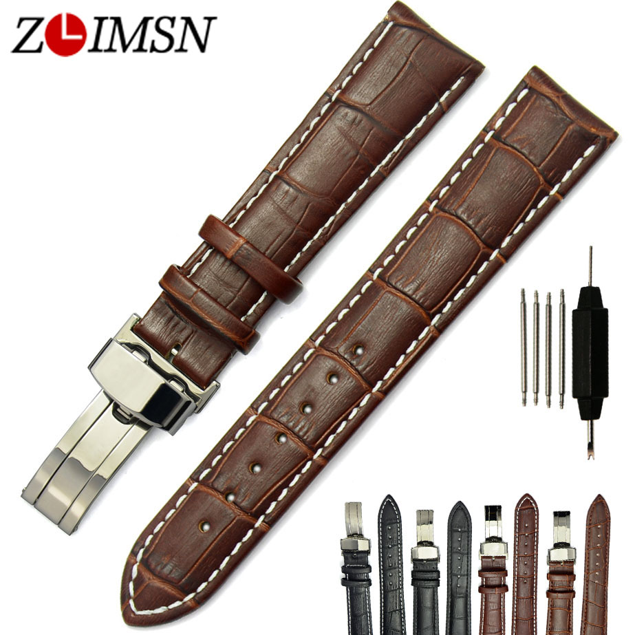 ZLIMSN Genuine Leather Watchband Men Women Watches 18 19 20 22 23 24 26mm Deployment Clasp Watch Accessories Relogio  wristband цена и фото