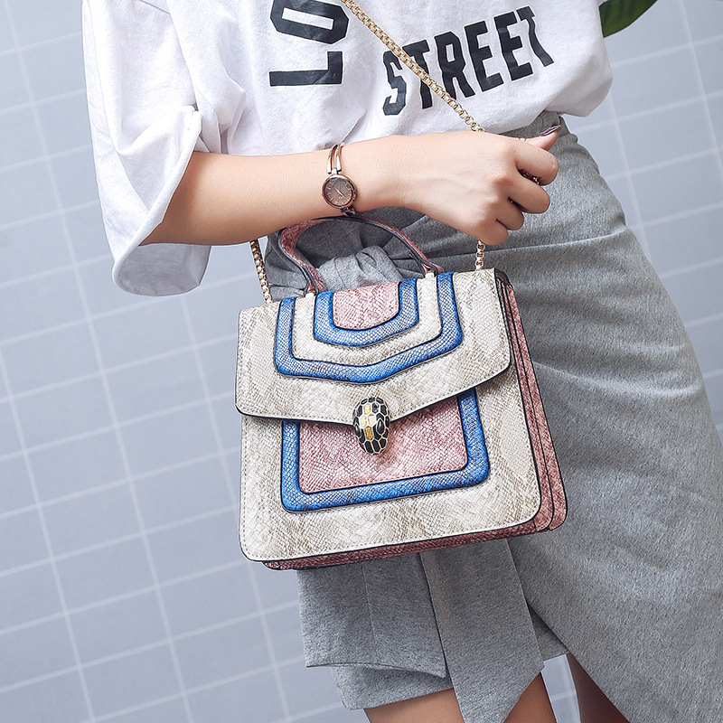 New Arrival Trendy Shoulder Snake Small Square Bag Magnetic Buckle Handbag Chain Fashion Shoulder Bag Crossbody Bags for Women 6