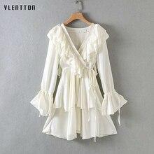 High Quality 2019 New Sexy Dress Women Ruffles V-Neck Bell sleeve A-Line White Dress Spring summer Elegant Party Vestidos Female split bell sleeve a line dress
