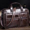 MISFITS Men Genuine Leather Briefcase Male Retro Oil Wax Cowhide Business Travel Computer Handbag Laptop 15 inch Tote Bag NZ4103