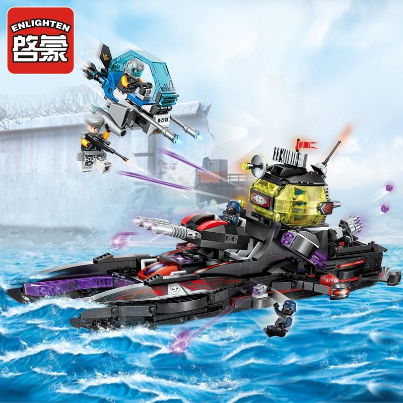Enlighten Building Block High Tech Era Black Shark Cruiser 5 Figures 675pcs Educational Technic Bricks Toy For Boy Gift No Box