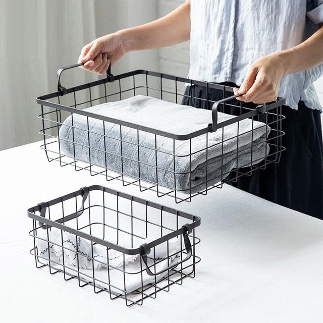 Metal Storage Basket Double Handle Iron Net Basket Bath Storage Desk Debris Basket  Square Small Items