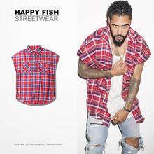 High Street 16SS Hip Hop Shirts Sleeveless Men font b Tartan b font Plaid Fashion Bieber