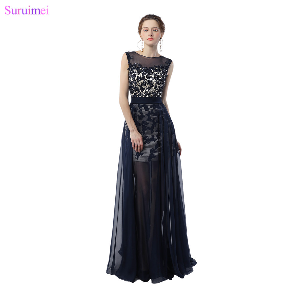 Navy Blue Evening Dresses Small Cap Sleeves High Neck Lace Applique ...