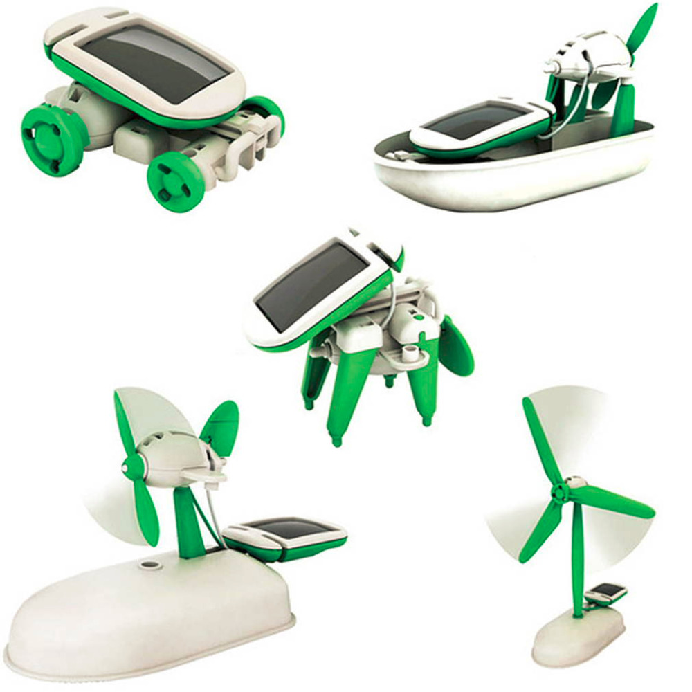 2019 Newest 6 In 1 Solar Energy Powered Toy Kit DIY Assembled Educational Robot Car Boat Dog Fan Plane Puppy Novelty & Gag toys image