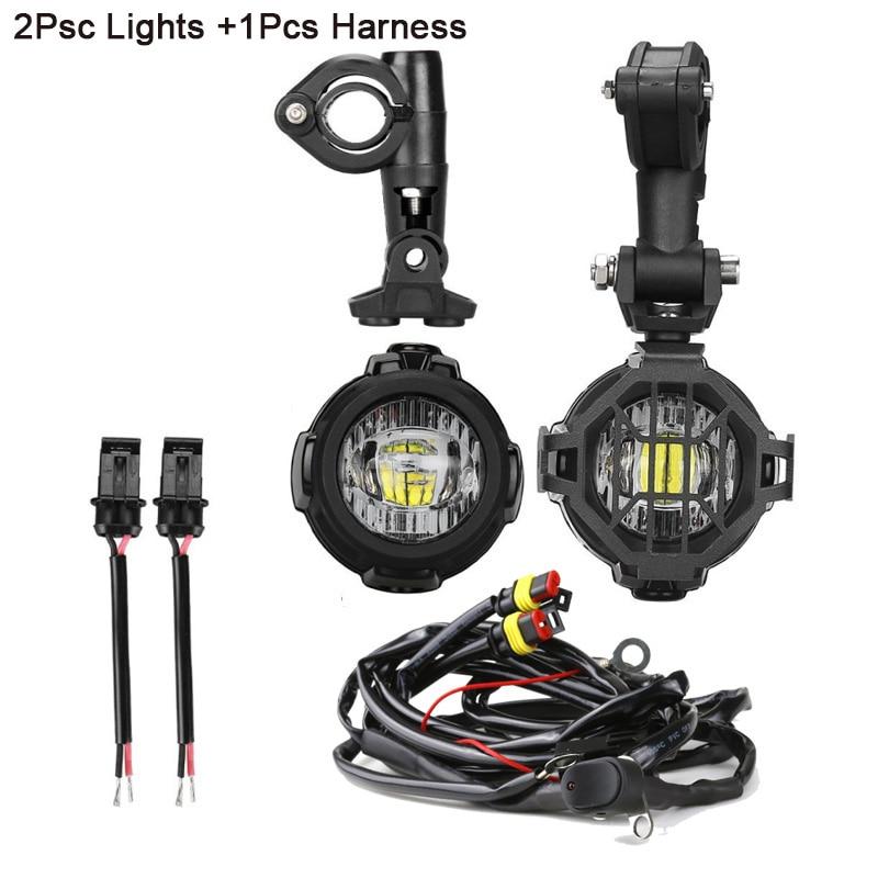 FADUIES moto LED antibrouillard & protection gardes avec faisceau de câblage pour BMW R1200 GS/ADV moto LED lumières blanc 6000 k - 2
