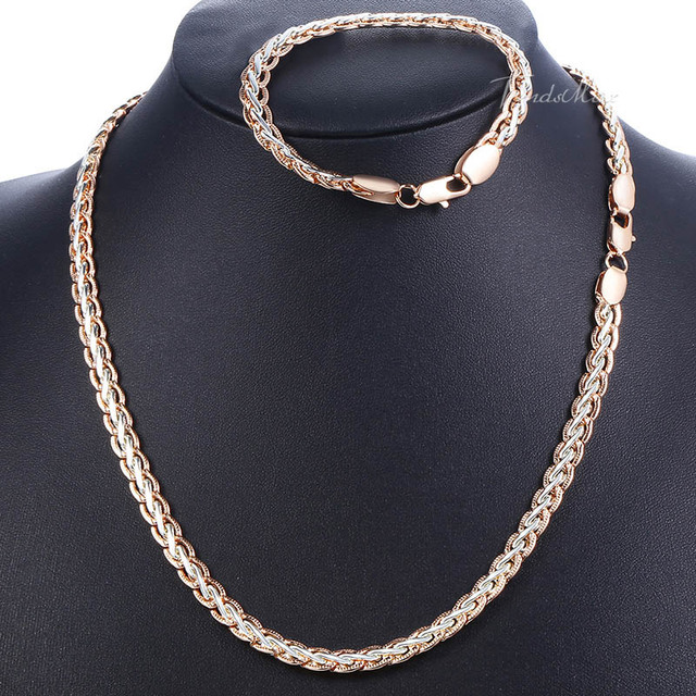 31092266f Men Women Weaving Wheat Necklace Bracelet Jewelry Set 585 Rose Gold Filled Wheat  Chain Fashion Jewelry