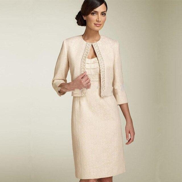 Robe simple de la mariée mère de la mariée robes avec veste trois quarts  manches courtes