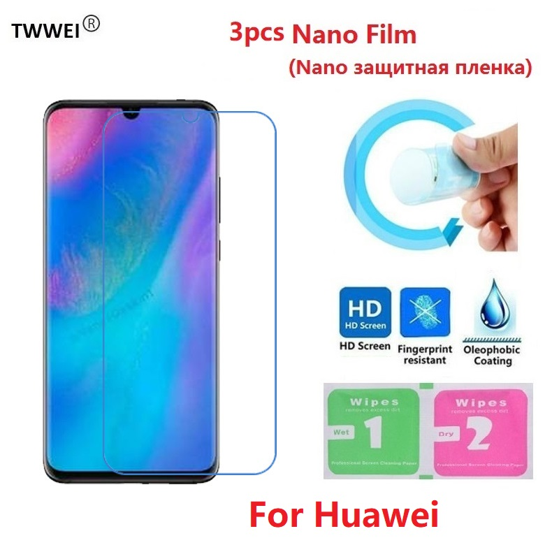 3pc Protective Film on the for Huawei P20 P30 Pro P40 Lite Mate 20 <font><b>30</b></font> Honor <font><b>10</b></font> Lite 8A 8X Screen Protector Film Foil (Not Glass) image