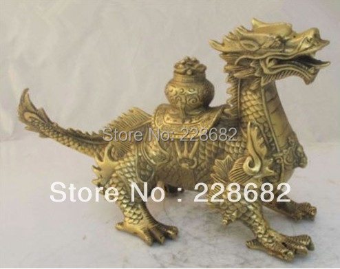 Artisanat en métal antiquités asiatiques Art populaire chinois Sculpture en laiton argent Dragon Statue