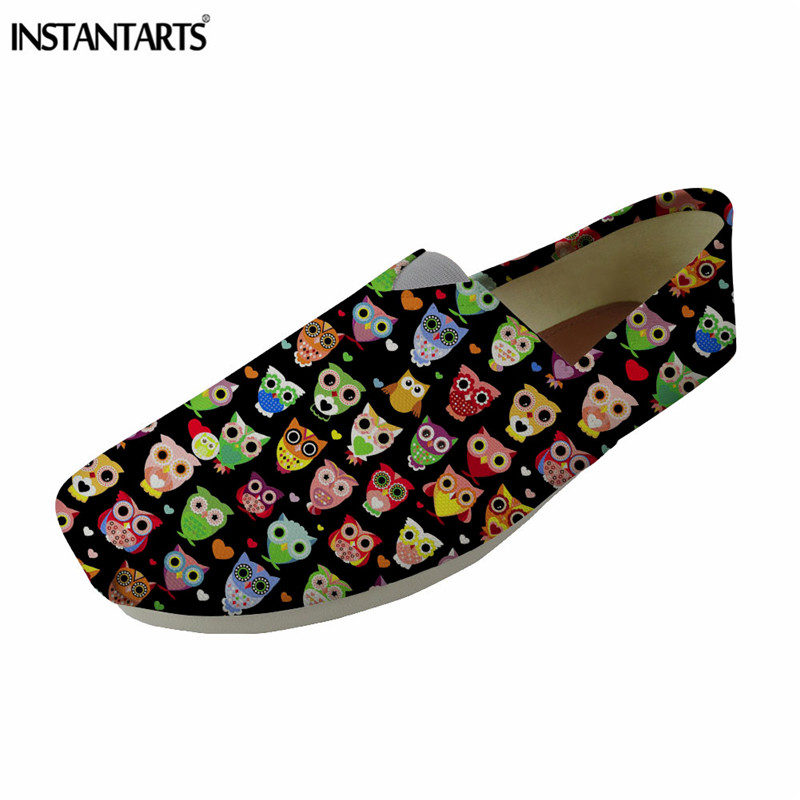 INSTANTARTS Cute Cartoon Owl Print Women Casual Flat Shoes Summer Breathable Canvas Loafer Shoes Fashion Slip On Fisherman Shoes instantarts casual women summer flat shoes cute dog alaskan malamute flower print female air mesh shoes fashion slip on sneakers
