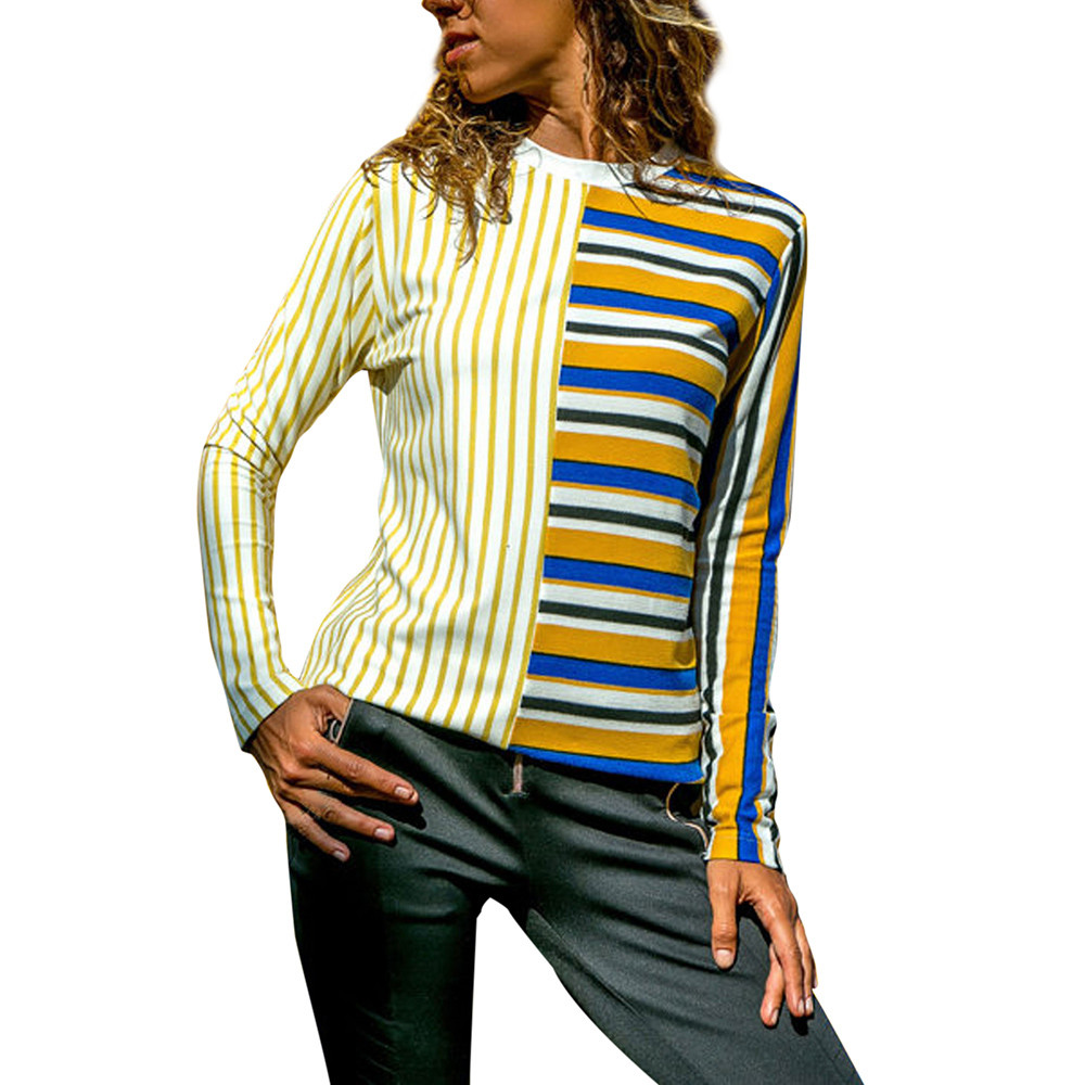 Women's Shirt Chiffon Blouse 2018 Casual Floral Cuffed Long Sleeve V Neck Button up Color Block Striped Tops blusas feminina