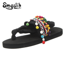Woman flip flops Lady Fashion Casual Beach Flip-flops 2019 Sandals Women Slippers Ethnic Minorities In China Decorative Pattern