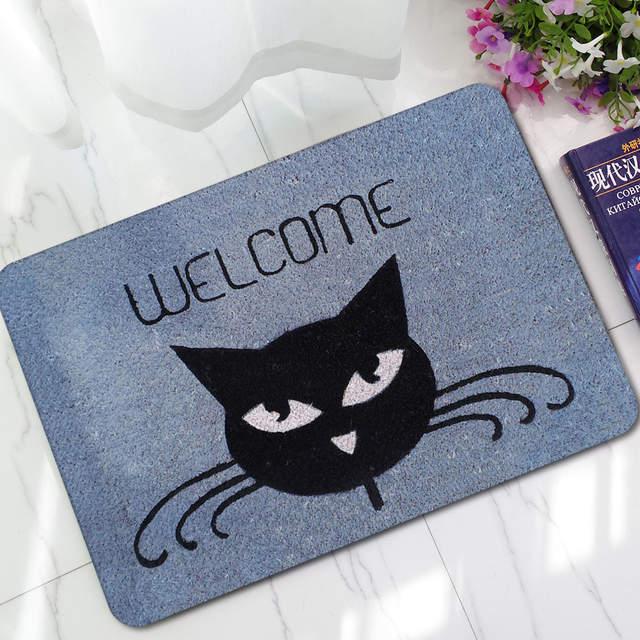 Cat Welcome Entry Front Door Mats Outdoor Entrance Indoor Welcome