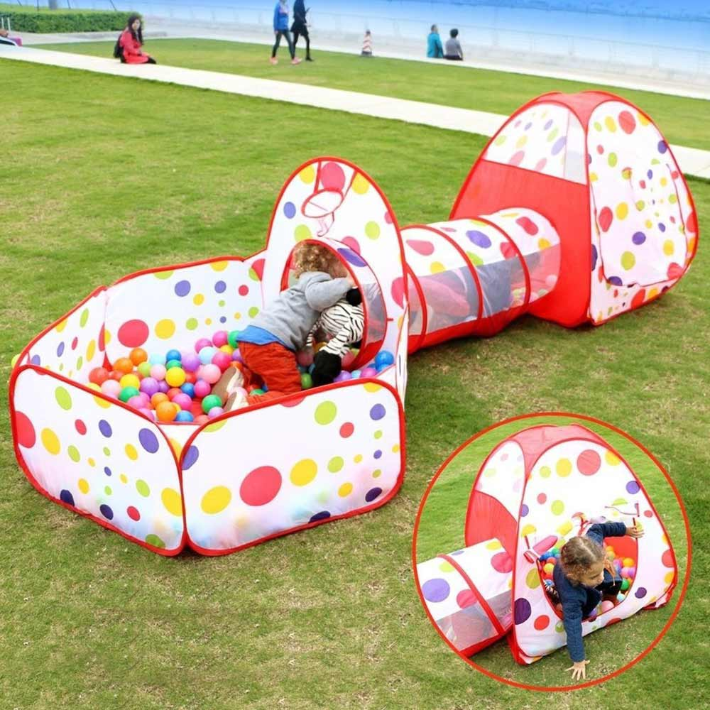 3Pcs Portable Folding Kids Game Tent With A Tunnel Children's Ball Pooll-Tube-Teepee Baby Girl Boy Play House Outdoors Toy Tents outdoor puzzle folding mongolia bag game house tents