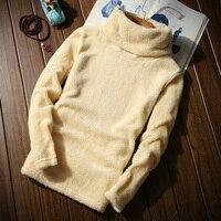 冬暖かく保つメンズインナーtシャツフロッキングパウダーベルベットをのど毛皮のセーターハイネック基本厚いtシャツ男性プルオーバーオムMQ336