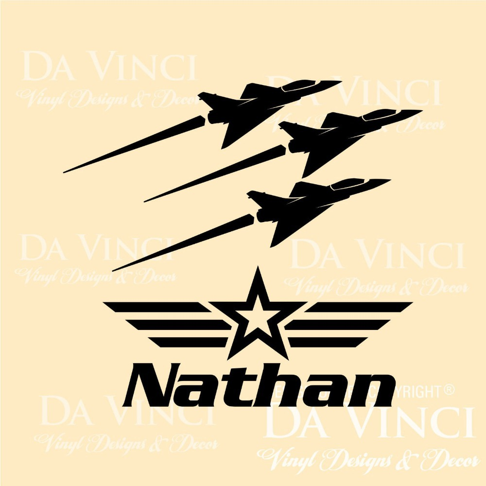 Multi color selection custom name airplane wall stickers vinyl wall ...