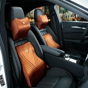 Image 4 - Memory Foam Cotton Car Headrest Neck Pillow Imitation Silk Fabric Waist Lumbar Support Sets Cushion For Auto Seat Accessories