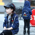 Denim Jacket girl Children's clothes girl's coat overcoat with Packback Childhood jacket Girls printing zipper cardigan Hooded