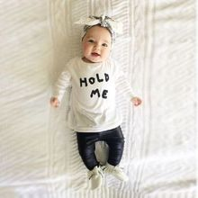 Baby Girls Boy Kids Infant Summer Long Sleeve White T-shirt Tops +Black PU Leather Pants Outfit