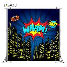 Laeacco 만화 슈퍼 히어로 시티 파티 베이비 어린이 사진 배경 맞춤 사진 배경 사진 스튜디오