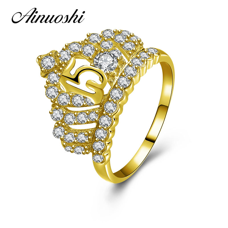 AINUOSHI Luxurious Queen Crown Ring 10K Solid Yellow Gold Princes Ring Bridal Ring 15th Anniversary Jewelry Women Wedding Ring ainuoshi exquisite queen crown ring 10k solid yellow gold flower ring women jewelry engagement wedding birthday party heart ring