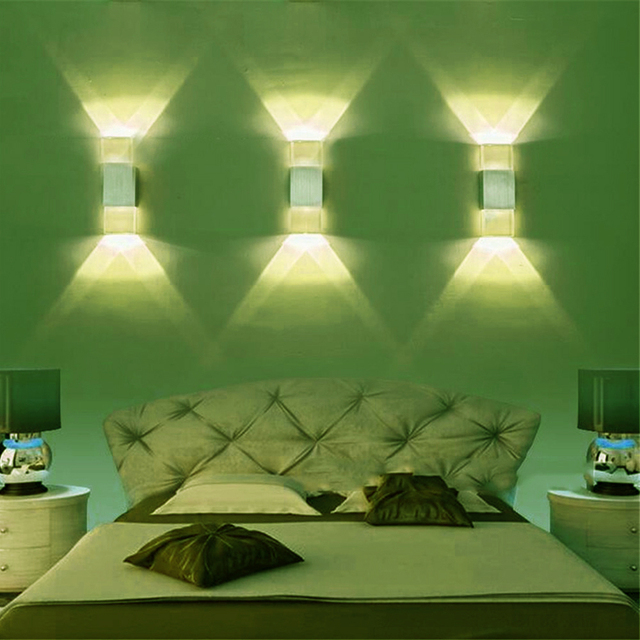2w Crystal Led Wall Lamp Up And Down Light Indoor Corridor Bar