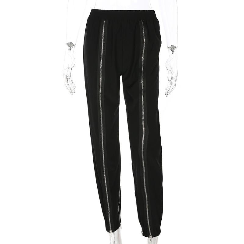 Ladies Trousers Double Zippers Pants Women Elastic Waist Trousers Streetwear Female Loose Black