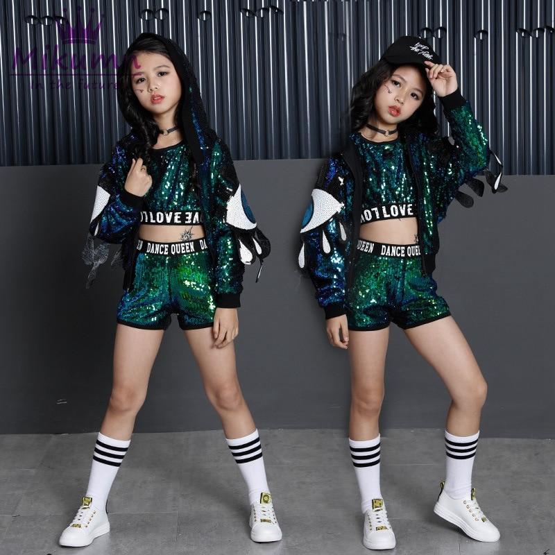 Filles nouvelle mode paillettes danse de rue Hip Hop danse Costumes pour enfants danse compétition Costume enfants salle de bal Jazz vêtements