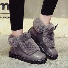 Women's Shoes Snow Boots Rabbit Fur Flat Casual Shoes Ankle Fashion Cotton Short Boots 2018 Winter New Plus Velvet To Keep Warm