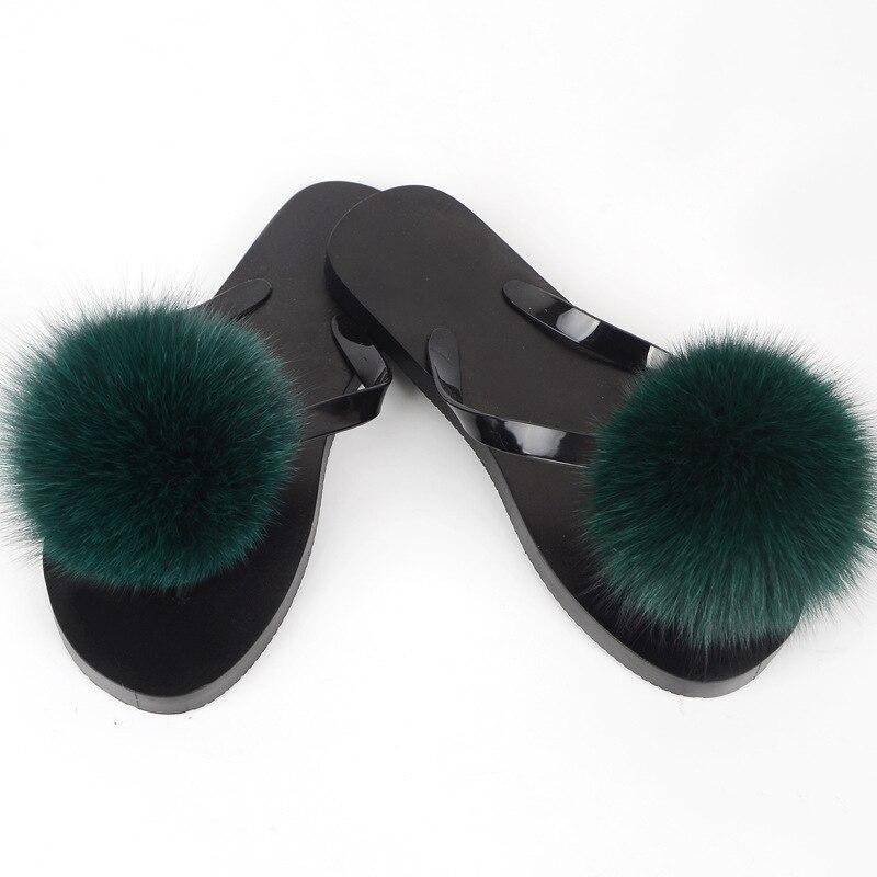 women slippers fox fur pompom (6)
